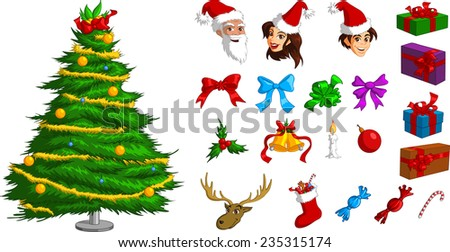Vector illustration of various ornate Christmas icon elements. - stock vector