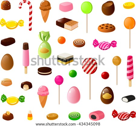 Vector illustration of various pieces of candy. - stock vector