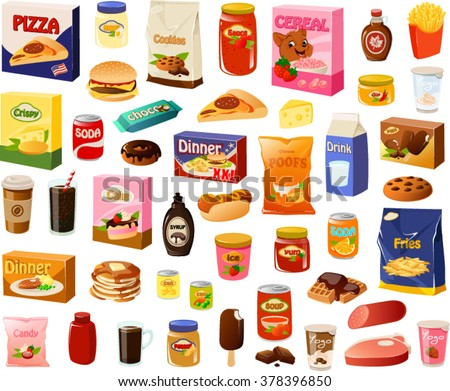 Vector illustration of various processed food items. - stock vector