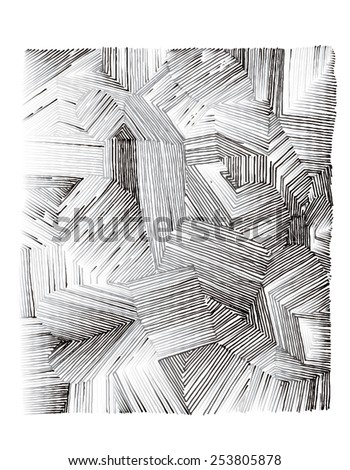 Vector illustration of various shapes striped hand drawn image. Black and white freehand drawing. - stock vector