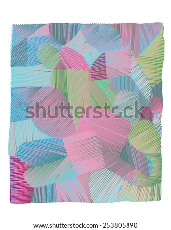 Vector illustration of various shapes striped hand drawn image. Colorful freehand drawing. - stock vector