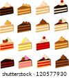 Vector illustration of various slices of cake. - stock vector