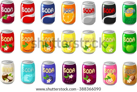 Vector illustration of various soda cans. - stock vector