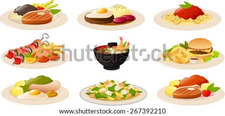 Vector illustration of various typical international food dishes. - stock vector