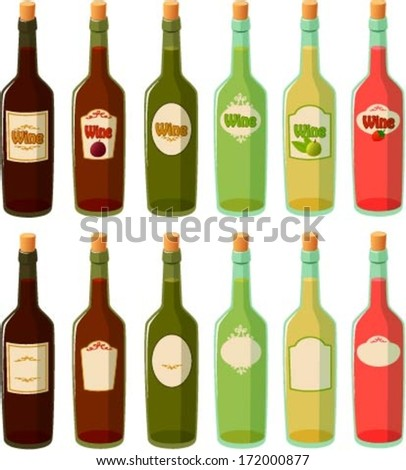 Vector illustration of various wine bottles.