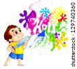 vector illustration of vector illustration of kids playing Holi festival - stock vector