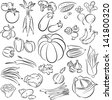 vector illustration of  vegetables collection in line art - stock vector