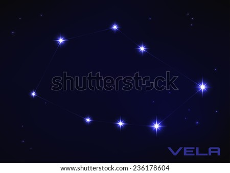 Vector illustration of Vela constellation in blue  - stock vector