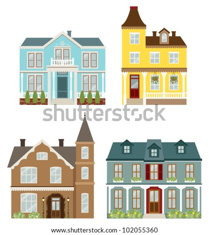 Vector illustration of Victorian style houses. - stock vector