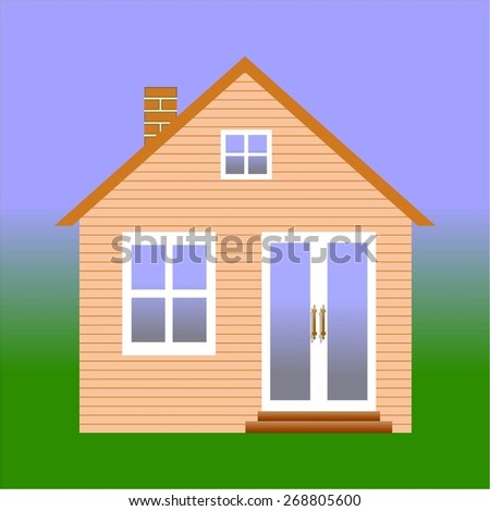 Vector illustration of village house with land.