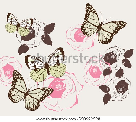 vector illustration of vintage background with butterflies and roses