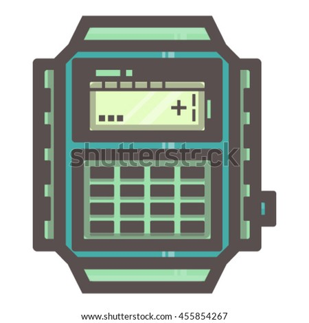 Vector illustration of vintage electronic watch on white background. Blue.