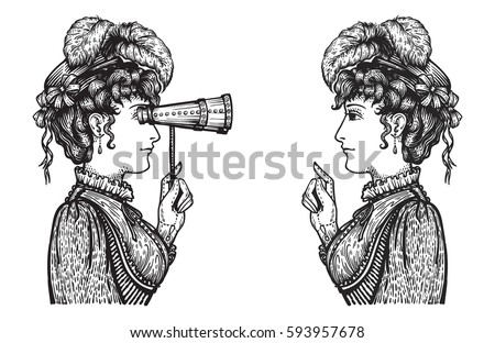 Vector Illustration Of Vintage Engraved Women