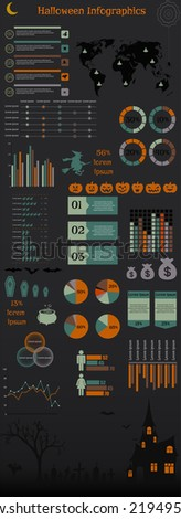 Vector illustration of vintage Halloween infographic elements set