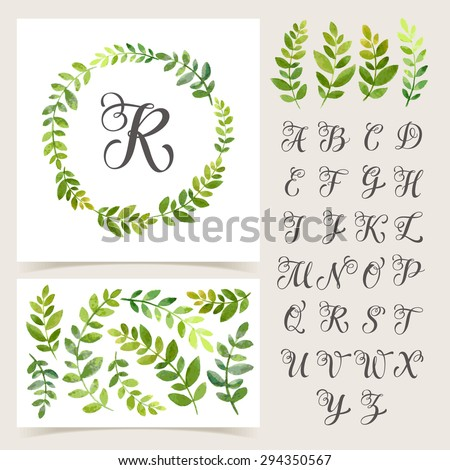 Vector illustration of vintage monogram set. Design template with floral frame, leaves and elements, calligraphic letters, emblem and label. Design element for invitation, wedding or greeting cards
