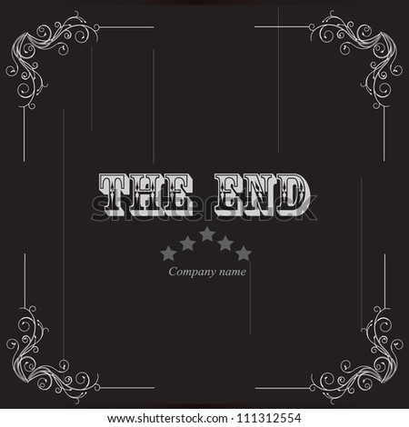 vector illustration of vintage movie ending - stock vector