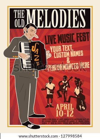 Vector illustration of vintage music event template poster - stock vector
