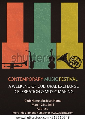 Vector Illustration Vintage Music Festival Flyer Stock Vector