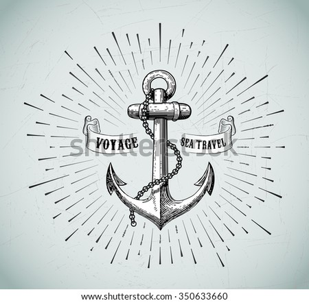 Vector illustration of vintage nautical label. Vintage anchor. Symbol of sea travel. Icon and design element. - stock vector