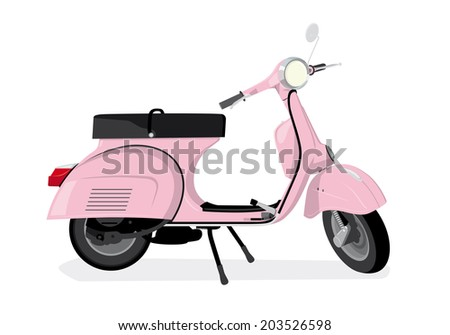 Vector Illustration of vintage pink scooter - stock vector