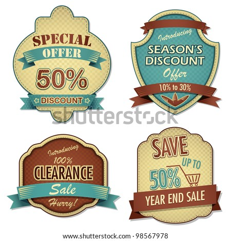 vector illustration of vintage sale and discount label - stock vector