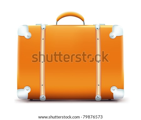 Vector illustration of vintage suitcase isolated on white background - stock vector