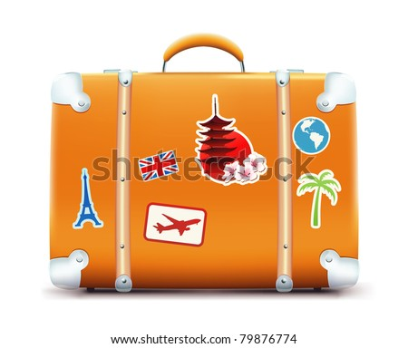 Vector illustration of vintage suitcase with funky stickers isolated on white background - stock vector