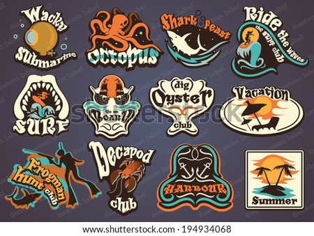 Vector illustration of vintage water sports labels