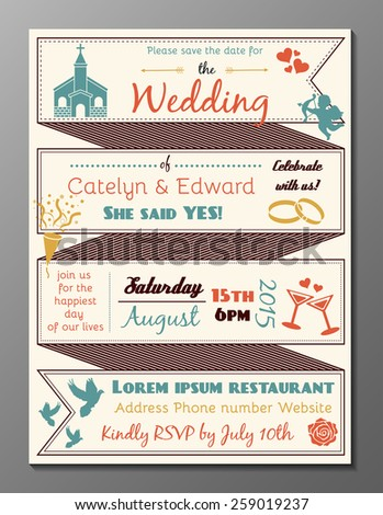 Vector illustration of vintage wedding party invitation card and flyer