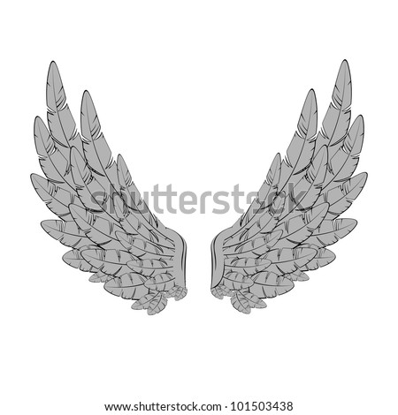 Vector illustration of vintage wings - stock vector