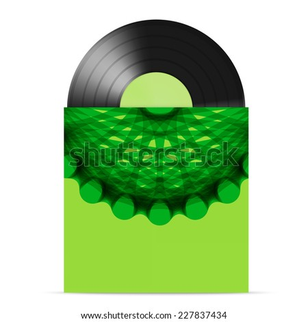 vector illustration of  vinyl gramophone record with green color paper label  and green cover with abstract circle design - stock vector