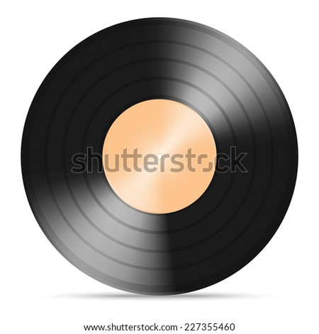 vector illustration of vinyl gramophone record with warm color paper label isolated