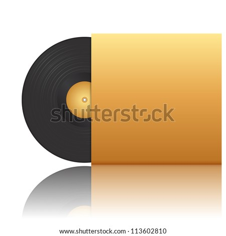Vector illustration of vinyl record in envelope - stock vector