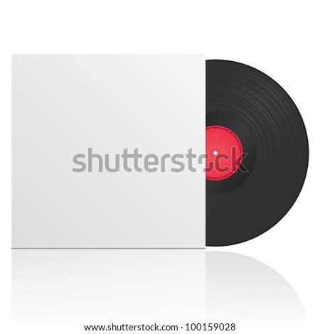 Vector illustration of vinyl record in envelope with space for your text - stock vector