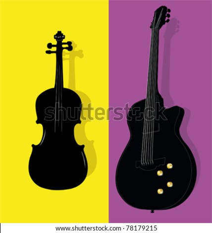 Vector illustration of violin and guitar contours - stock vector