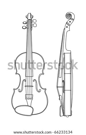 Vector illustration of violin on white background
