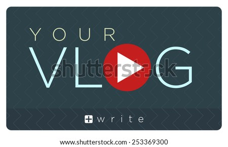 Vector illustration of vlog banner, video blogging  - stock vector