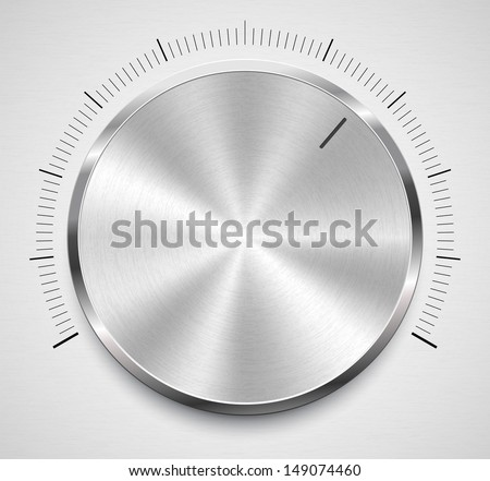 Vector illustration of volume knob with steel texture