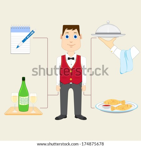vector illustration of waiter with food and drink - stock vector