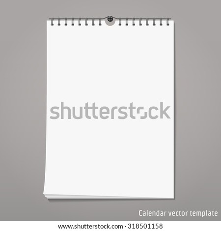 Vector Illustration of Wall Calendar mock up for Brand Design. Object Template. Spring month blank isolated