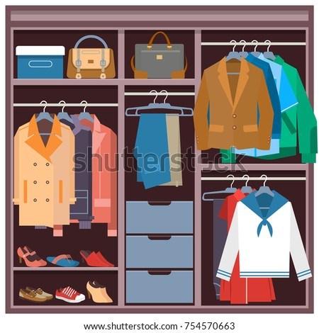 Vector Illustration Of Wardrobe Full Clothing Shoes Bags Closet With Clothes And