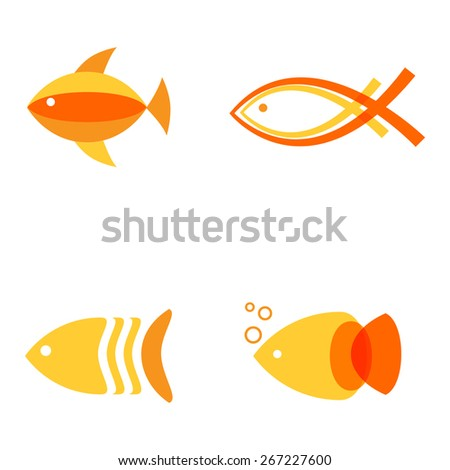 Vector illustration of warm colors golden fishes. Abstract fish logos set for seafood restaurant or fish shop - stock vector