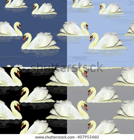 Vector illustration of watercolor white swan in the water. Seamless pattern set - stock vector