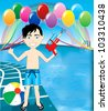 Vector Illustration of watergun boy at pool party with balloons and beach ball. - stock photo