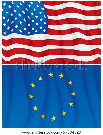 Vector Illustration of waving USA and EU flags-No meshes used - stock vector