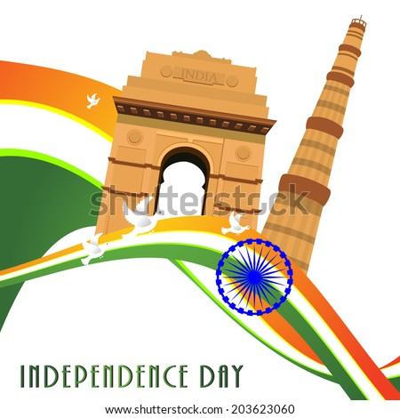 vector illustration of wavy Indian flag with monument - stock vector