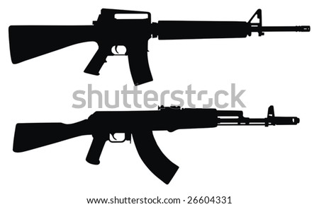 Vector illustration of weapons silhouette  (High detail)