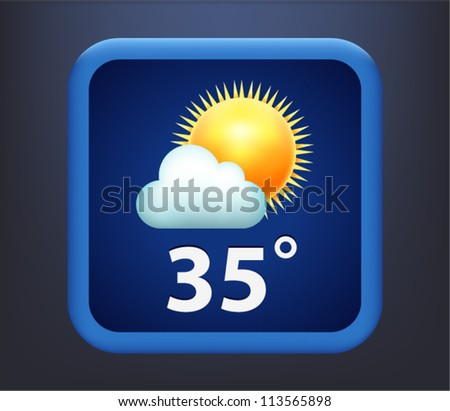 Vector illustration of weather icon - sun with cloud - stock vector