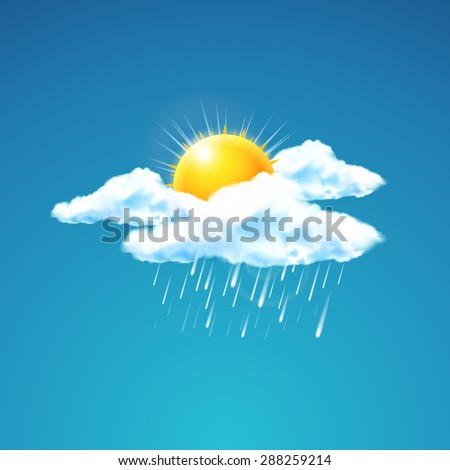 Vector illustration of weather icon - sun with cloud floats in the sky