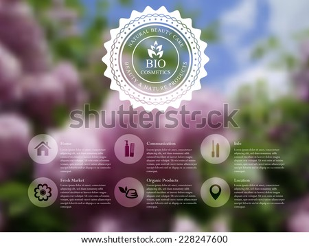 Vector illustration of  web and mobile interface template with badge label and lilac flowers. Organic cosmetics blurred website design - stock vector